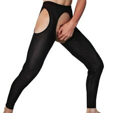 Men's Mesh Sheer See-through Tights Underwear Sexy Lingerie Crotchles Long Pants