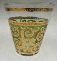 "3 Culver Toledo Green & 22K Gold Swirl 4"" Flaired Glasses Hollywood Regency"