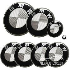 FOR BMW Badge Carbon Fibre White & Silver Emblem Decal Wrap Sticker Vinyl 73mm