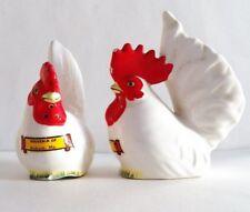 "Vintage Rooster Salt & Pepper Set Souvenir of Auburn, Maine 4"" tall Good Cond"