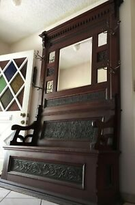ANTIQUE HALL TREE BENCH, Old Vtg Victorian Carved Entry Seat Mirror Coat Rack