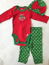 NEW Gerber Baby Girl 3 Piece Set Knit Outfit Christmas - Size 3-6 M