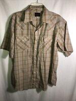 Plains Western Pearl Snap Button Down Shirt Mens Size XL Short Sleeve Plaid