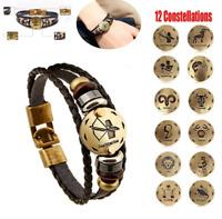 12 Constellation Zodiac Round Pendant Leather Bangle Bracelet Chain Bracelet New