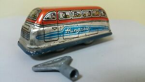 VINTAGE TOURIST BUS TIN TOY CLOCKWORK HUNGARY LEMEZ AUTO  WIND UP ORIGINAL KEY
