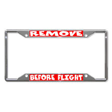 REMOVE BEFORE FLIGHT RED Metal License Plate Frame Tag Holder Four Holes