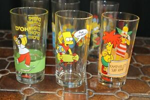 Simpsons Nutella Glasses x 6, all in very good condition. 1998.