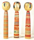 Vintage Japanese Kokeshi Doll  Set of 3  Artisan Handcrafted 12 inches high! OKT