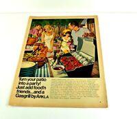 "Gas Grill Arkla Patio Party Steak BBQ Fun Backyard Vtg Print Ad 13.5""x10"" AM"