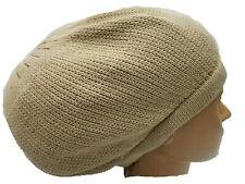 Tan Beret Tam Hat Rasta Slouch Beanie Crochet Cap Dreadlocks Dreads Hair M/L