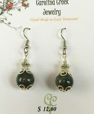 Silver Accents Handcrafted By Ccj Beautiful Blue Tiger Eye Earrings With