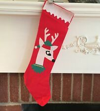 Vintage mid century reindeer Christmas stocking, 21 inches long