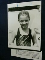 Vintage youth swimmer Bridget Zingale smiles for Vintage Glossy Press Photo