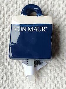 Nora Fleming (retired) mini A168 VON MAUR blue shopping bag tote platter charm