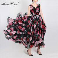 PUL Women's Fashion Dress Summer Sleeveless V-neck Rose Floral Print Dress