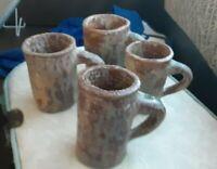 Vintage Brutalist Studio Hand Made Pottery EXPRESSO MUGS BOLD Signed G.F.