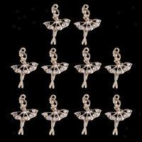 10x Gold Tone Ballet Girl Dancer Charms Rhinestone Pendants Jewelry Findings