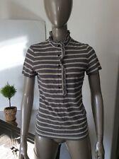 Tory Burch Blue Ivory Short Sleeve Striped Ruffled Shirt Blouse Cotton Sz Small