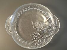 """Vintage Glass Poinsetta and Holly Pattern Serving/Candy Plate 7"""" in Diameter"""