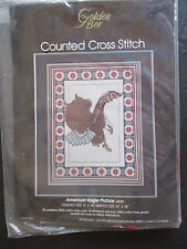 VINTAGE GOLDEN BEE COUNTED CROSS-STITCH AMERICAN EAGLE PICTURE KIT - NEW