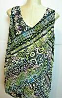 Womens roz & ALI 3X sleeveless tunic top W geometric asymetrical placket front