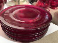 "Vintage Duncan & Miller Georgian Ruby 7 Bread & Butter Plates 6 1/8"""