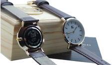 Orologio da polso in pelle personalizzato Inciso Orologio di lusso custodia in legno ogni secondo