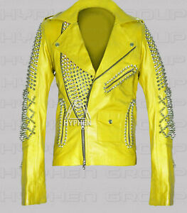New Women Yellow Full Heavy Metal Spiked Studded Classic Brando Leather Jacket