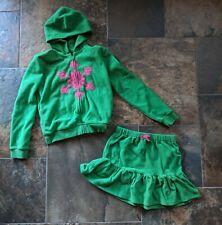 Gymboree Sz 10 12 MERRY & BRIGHT Green Fleece Hoodie Jacket Skirt Pink Snowflake