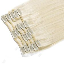 "Short 10"" Or Long 20"" 100% Remy Clip In Weft Extensions Human Hair Full Head II5"