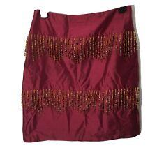 Muse 100% Silk Beaded Fringe Mini Skirt Red Indian Size 4