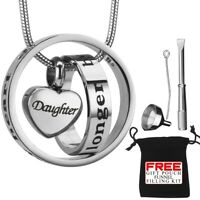 Urn Necklace Cremation Jewellery Pendent Ashes Daughter Memorial Locket Silver