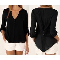 Women's Ladies Summer Loose Chiffon Tops Fashion Long Sleeve Shirt Casual Blouse