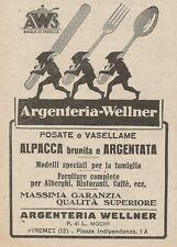 Z2016 Argenteria Wellner - Posate e Vasellame - Pubblicità d'epoca - Advertising