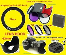 RING ADAPTER+FILTER KIT+HOOD+LENS CAP 62mm > CAMERA NIKON COOLPIX P600 P610 P700