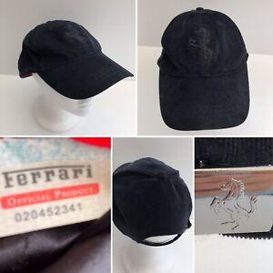 Ferrari Cap Black Corduroy Baseball Hat Racing Adjustable One Size Logo VGC