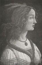 D0283 Sandro Botticelli - La bella Simonetta - Stampa d'epoca - 1929 old print