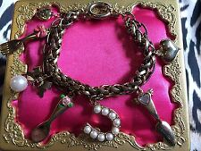 Betsey Johnson Vintage Fork Spoon Bow Rose Pearl Cake Server Tea Party Bracelet