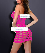 Red Pink Sexy Womens Fishnet Hollow Lingerie Stripper Mini Dress Nightwear 6-12