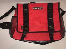 Polo Sport Ralph Lauren Red Canvas Messenger Cross Body Luggage Briefcase Bag