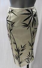 DOLCE & GABBANA Beige Pencil Skirt w/ Black Bamboo Print - Size 38