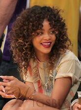 Rihanna Medium Brown Curly Synthetic Hair Wig Hair
