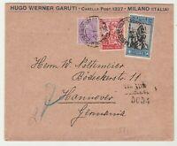 STORIA POSTALE - 1929 REGNO 3 VALORI SU RACC/DIRETTA IN GERMANIA E/1869