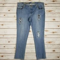 Avenue Distressed Studded Denim Straight Leg Stretch Light Blue Jeans Size 14