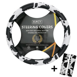 15inch 38cm Cow Print Steering Wheel Cover Leather Non-Slip w/ Seat Belt Cover