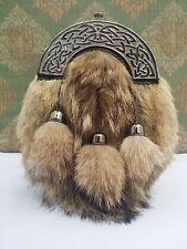 HS Men's Scottish Dress Black Leather Kilt Sporran Fox Fur Celtic Cantle Antique