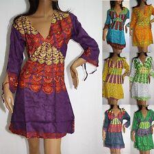 Kleid Tunika Top Langarm Minikleid Indien Goa Hippie Vintage Viskose 38 40 LA