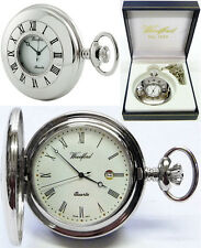 Woodford Half Hunter Pocket Watch Chrome-Plated Swiss Quartz Free Engraving 1212