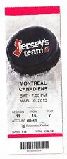 2013 DEVILS VS MONTREAL CANADIENS FULL TICKET STUB 3/16/13 JARRED TINORDI DEBUT