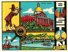 Boston, Massachusetts  Vintage-Looking  Travel Decal/Sticker/Luggage Label